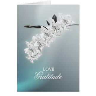 A orquídea branca - obrigado cartão de nota da