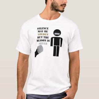 A palavra é de prata e o silêncio é de ouro humor camiseta