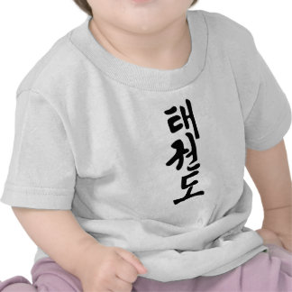 A palavra Taekwondo na rotulação coreana Tshirt