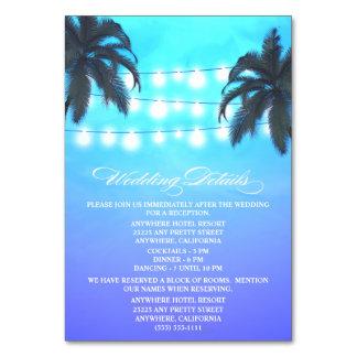 A palmeira ilumina a recepção de casamento +