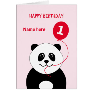 A panda bonito do primeiro aniversario adiciona o cartão comemorativo