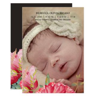 A papoila da aguarela floresce o bebê novo convite 12.7 x 17.78cm
