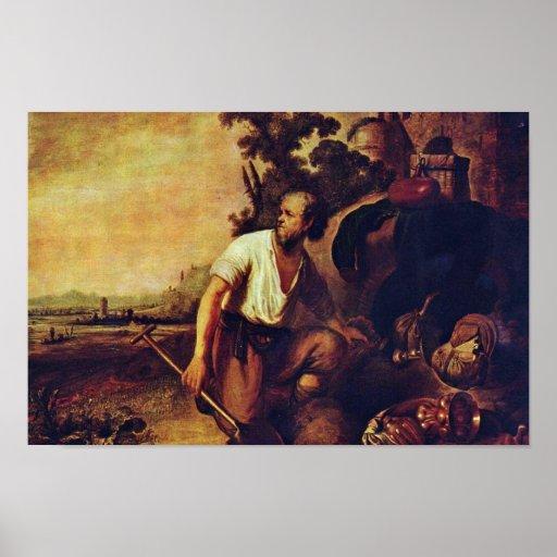 A parábola do tesouro escondido. Por Rembrandt Posteres