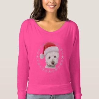 A parte superior da mulher da arte do cão de camiseta