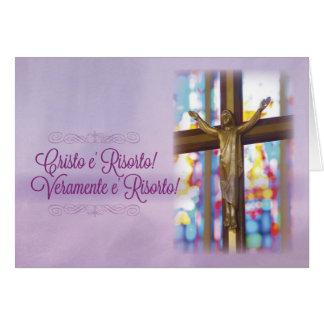 A páscoa cristã italiana, cristo é aumentada cartão comemorativo