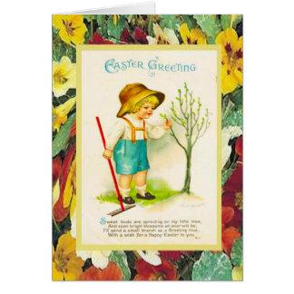 A páscoa do vintage, lá é botões em minha árvore cartão comemorativo
