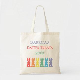 A páscoa personalizada coelhos do arco-íris trata bolsa tote