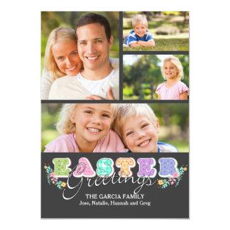 A páscoa rotula o cartão com fotos quatro convites personalizados