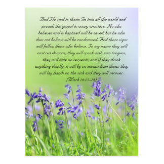 A passagem da bíblia, bluebells fecha-se acima cartão postal