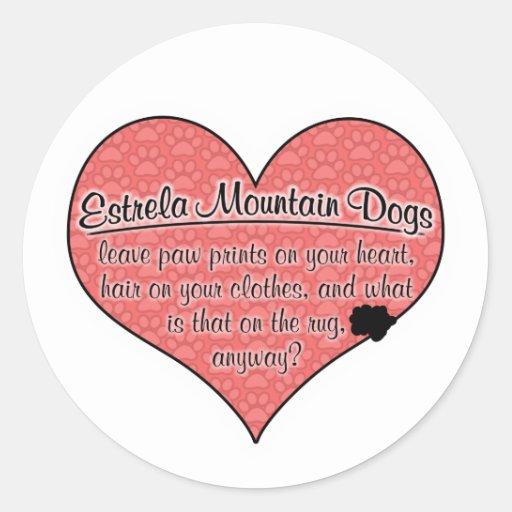 A pata do cão da montanha de Estrela imprime o hum Adesivo Redondo