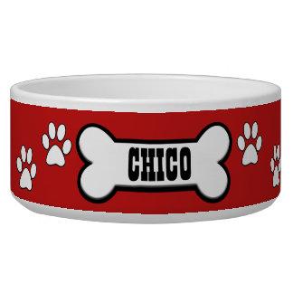A pata imprime a bacia personalizada vermelho do tijela para comida de cachorros