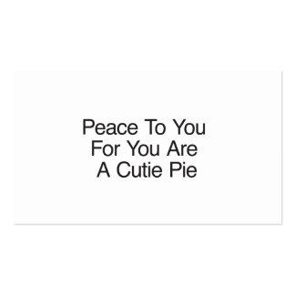 A paz a você para você é uma torta de Cutie Cartoes De Visita