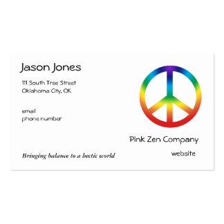 A paz assina dentro cores de Chakra Modelos Cartões De Visita