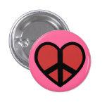 A paz assina dentro um botão do coração pins