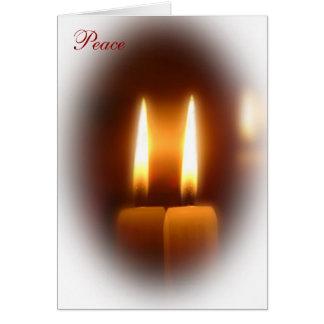 A paz Candles o cartão do feriado