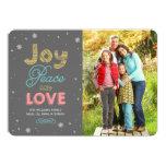 A paz da alegria e ama o cartão com fotos do convites personalizados