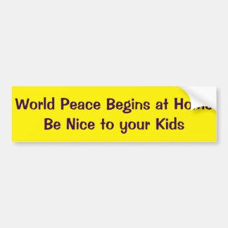 A paz de mundo começa seja em casa agradável a adesivo para carro
