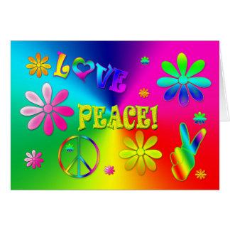 A paz do Hippie e o cumprimento do amor - cores Cartão