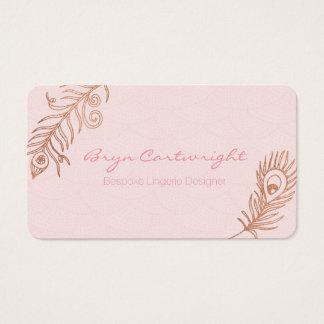 A pena cor-de-rosa do ouro cora cartões de visitas