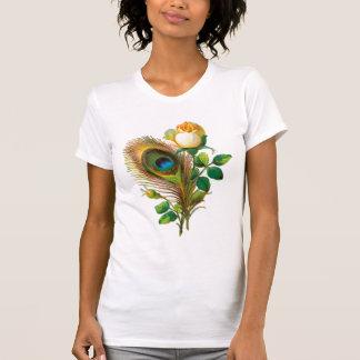A pena do pavão e aumentou t-shirt