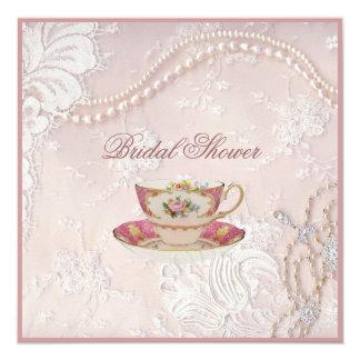 A pérola cora convite nupcial do tea party do laço