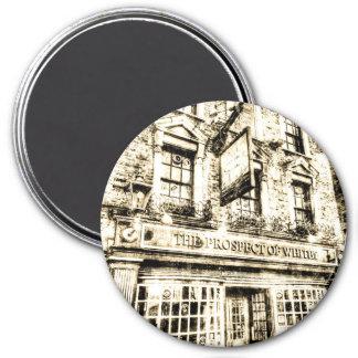 A perspectiva do vintage de Londres do bar de Ímã Redondo 7.62cm