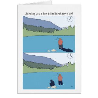 A pesca do feliz aniversario carda desenhos animad cartão comemorativo