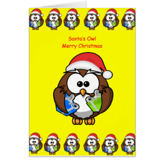 A pessoa da coruja do cartão do Natal caçoa o