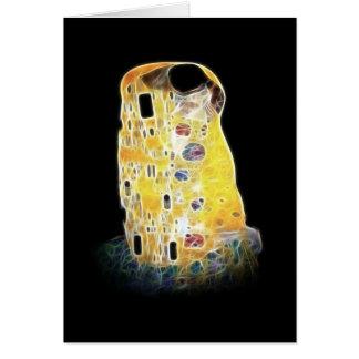 A pintura amarela de Gustavo Klimt Digital do beij Cartão Comemorativo