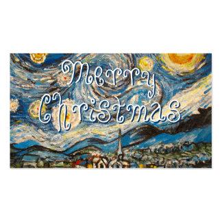 A pintura da noite estrelado repinta o Feliz Natal Cartões De Visita