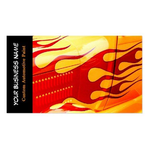 A pintura do carro arde o trabalho da pintura no c cartao de visita