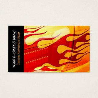 A pintura do carro arde o trabalho da pintura no cartão de visitas