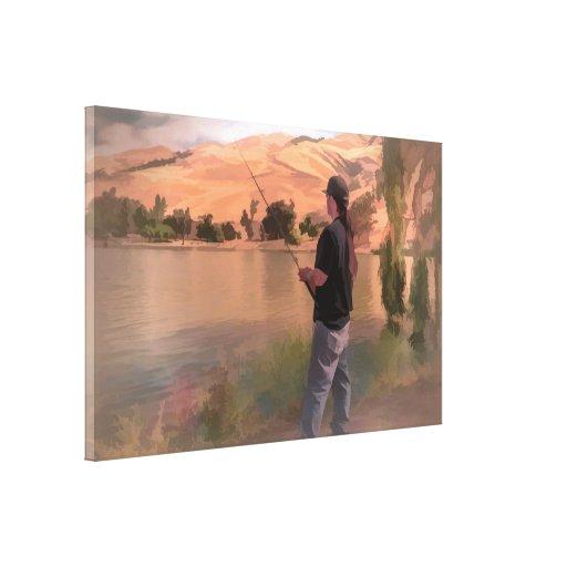 A pintura do pescador, em uma lona envolvida impressão de canvas envolvidas
