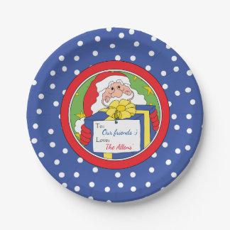 """A placa de papel """"papai noel"""" do Natal personaliza Prato De Papel"""