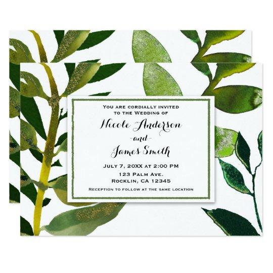 A planta Glam botânica verde sae do casamento Convite 12.7 X 17.78cm
