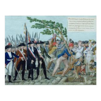 A plantação de uma árvore da liberdade, c.1789 cartão postal