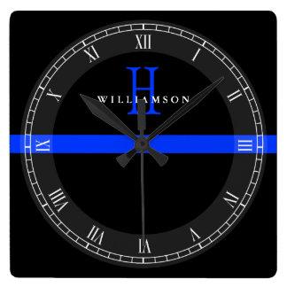 A polícia dilui o monograma do costume de Blue Relógio Quadrado