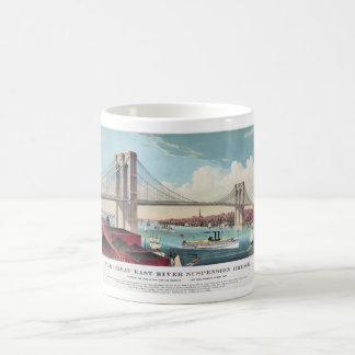 A ponte de Brooklyn na Nova Iorque desde 1883 Caneca De Café