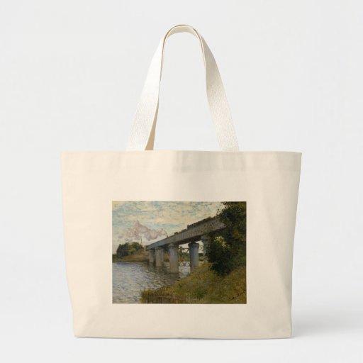 A ponte Railway em Argenteuil (1874) [2] Bolsa De Lona