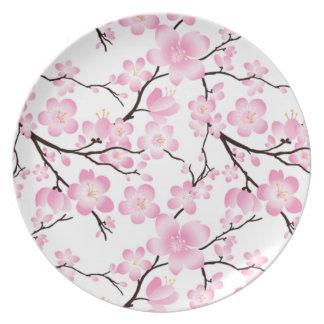 a porcelana bonito do vintage da flor de cerejeira prato