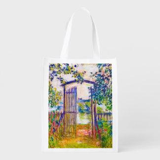 A porta de jardim na arte de Vetheuil Claude Monet Sacolas Reusáveis