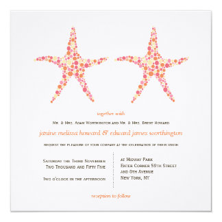 A praia da estrela do mar do pêssego da convites personalizados