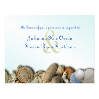 A praia descasca o cartão do convite do casamento