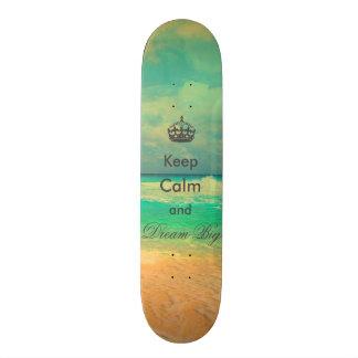 """a praia do vintage """"mantem a calma e sonha"""" citaçõ shape de skate 18,7cm"""