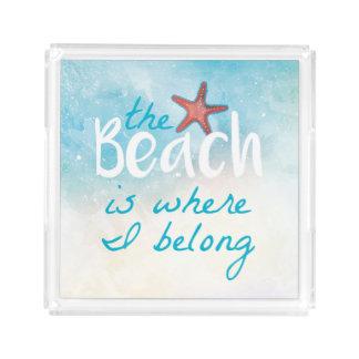 A praia é onde eu pertenço bandeja servindo das