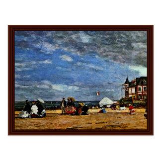 A praia em Trouville por Boudin Eugène Cartão Postal