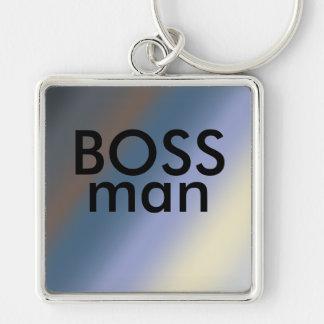 A prata do chave-anel do homem do CHEFE/rouba Chaveiro Quadrado Na Cor Prata