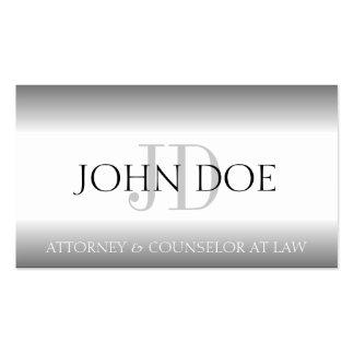 A prata do monograma da empresa de advocacia do ad cartões de visitas