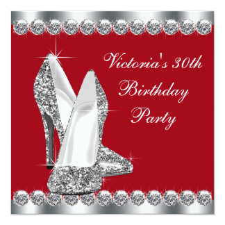 A prata elegante e a festa de aniversário vermelha convite quadrado 13.35 x 13.35cm