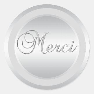 A prata elegante MERCI etiqueta etiquetas